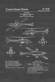 Aviation Home Decor Seibel Military Helicopter Patent Helicopter Blueprint