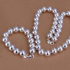 beads necklace sets images Bold beads sterling silver matching bracelet and necklace set jpg