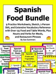 spanish food and meals bundle of 12 worksheets skit sketch