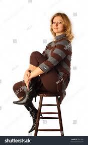High Sitting Chair Portrait Pretty Blond Sitting On Stock Photo 7241296