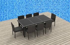 Gray Wicker Patio Furniture - 9 piece wicker outdoor patio dining set gray wicker charcoal