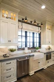 Kitchen Sink Lighting by Off White Kitchen With Grey Quartz Countertop The Surrounding