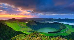 wallpaper android sao sunset mountains town grass azores lake clouds sao crater beautiful
