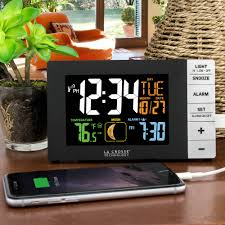 Bedside Charging Station La Crosse Technology Color Alarm Clock With Indoor Temperature And