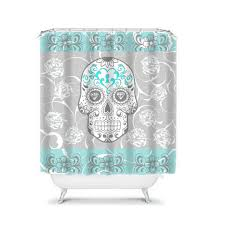 Skull And Crossbones Shower Curtain Shower Curtain Sugar Skull Gray And Turquoise By Folkandfunky
