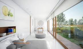 grey bed cover in white bedroom of modern guest house design