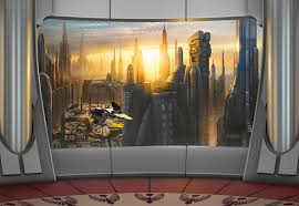 aph 483 star wars coruscant view mural tapeto aph 483 star wars coruscant view mural