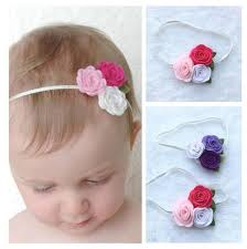 newborn headband trio flowers headband felt flower headband hair band kids