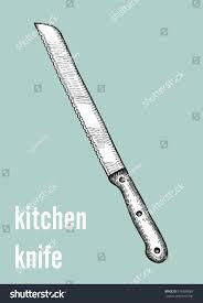 serrated kitchen knife vector illustration stock vector 576309085