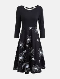 casual halloween spider web print flare dress black l in casual
