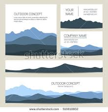 set blue mountains forest backgrounds vector stock vector