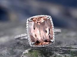 real wedding rings images 10x12 cushion morganite engagement ring handmade solid 14k white jpg