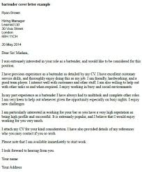 sample bartending cover letter no experience