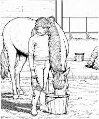 difficult coloring pages little keeping company of her horse difficult coloring pages