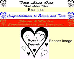 congratulations engagement banner personalised engagement banner heart design party wizard