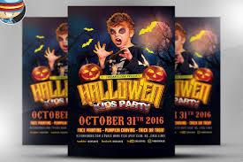 halloween kids party template flyer templates creative market
