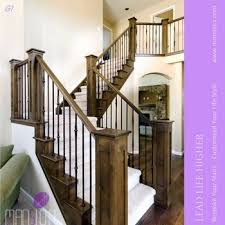 interior wrought iron spindles wooden handrail stair railings