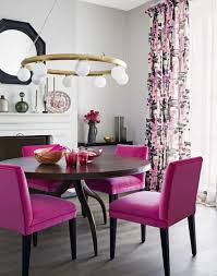 amazing dining room with velvet purple dining chairs and round