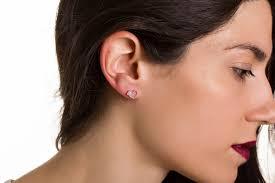 earrings on ear heart studs heart shaped earrings sirios