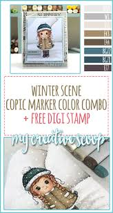 scene copic marker color combo free digi stamp