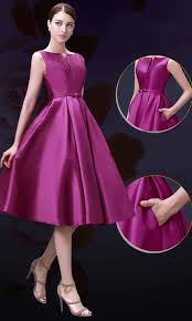 elegance slash pocket mid length formal bridesmaid dresses ksp357