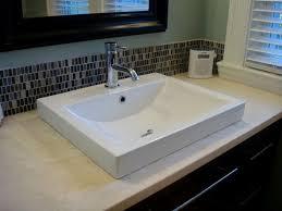 semi recessed bathroom sinks xyuim white semi recessed sink set in honed travertine tops