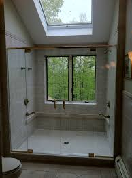 shower with window love the forest in the background shower luxury