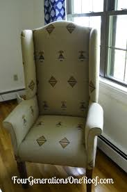 How Much Does It Cost To Reupholster A Chair Diy Reupholstered Wingback Chair Before U0026 After Four