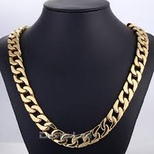 curb chain necklace fashion images Davieslee fashion gift 13mm wide heavy gold tone cut curb chain jpg