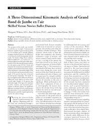 a three dimensional kinematic analysis of grand rond de jambe en l