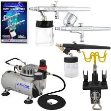 new 3 airbrush u0026 compressor kit dual action spray air brush set