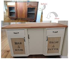 repurposed kitchen island repurposed an older style display cabinet into a kitchen island