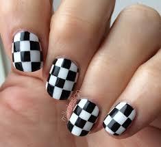 30 super creative black and white nail art designs checkered