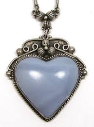 silver agate necklace images Sterling silver blue lace agate heart necklace jpg&a