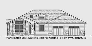 house front drawing elevation view for 10163 one story house plans