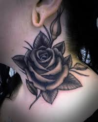 lovely purple rose tattoo on front of neck in 2017 real photo