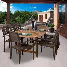 amazonia teak ancara 8 person patio dining set with teak extension
