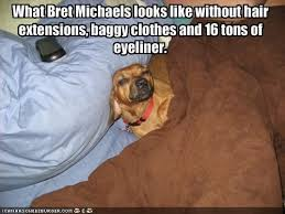 Hair Extension Meme - what bret michaels looks like without hair extensions baggy clothes
