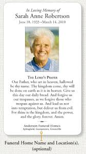 prayer cards for funeral funeral home memorial prayer card info page