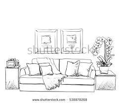 modern interior room sketch hand drawn stock vector 538878268