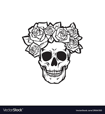 human skull with roses black and white royalty free vector