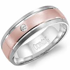 gold bands rings images Diamond 18k rose and white gold wedding ring jpg