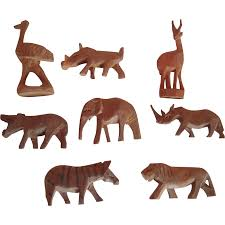 carved wooden animals lot of 8 vintage miniature carved wooden animals from
