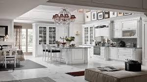 impressive white kitchen design with herringbone floor tile