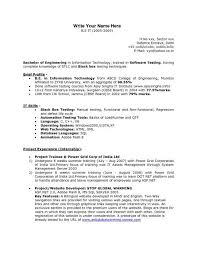 Qtp 2 Years Experience Resume Manual Testing Resume Samples 01 Testing Fresher Resume Manual