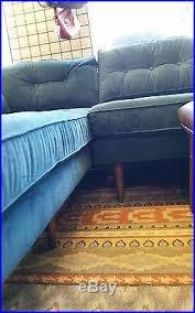 Blue Velvet Sectional Sofa by Mid Century Modern Sectional Couch Blue Velvet Pristine Condition