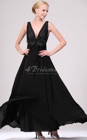 a line v neck long black chiffon bridesmaid dresses bd459 4bridesmaid