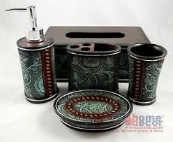 Western Bathroom Accessories Rustic - rustic western floral turquoise bathroom accessory set 5 pieces