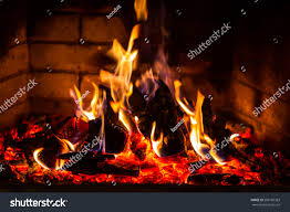 burning firefire fireplace burning fireplace on stock photo