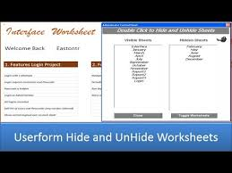 userform to hide and unhide worksheets excel 2013 youtube